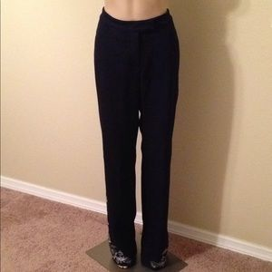 NWT ST. JOHN COLLECTION navy embroidered pants, 12